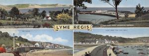 Vintage Panoramic Dorset Lyme Regis Multi View Postcard OS33