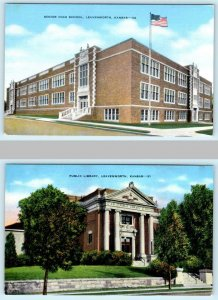 2 Postcards LEAVENWORTH, Kansas KS ~ ;HIGH SCHOOL, Public Library c1940s Linen