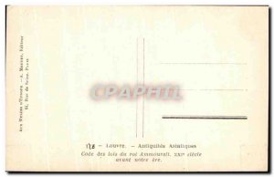 Old Postcard Louvre King Code of Laws Ammourali