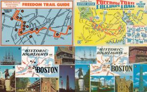 Historic Boston Freedom Trail 4x Map Postcard s