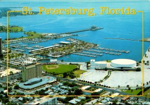 Florida St Petersburg Downtown Aerial View With Marina and Pier