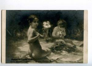 258538 NUDE Little NYMPH Flowers by MORIE Vintage SALON 1910 y