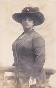 Beautiful Lady With Hat Real Photo Vetter Studio Jersey City New Jersey