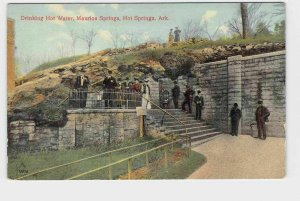 PPC POSTCARD ARKANSAS HOT SPRINGS MAURICE SPRINGS DRINKING HOT WATER LITHO