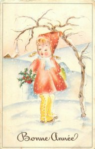 Bonne Annee fantaisie New Year winter fantasy charm red coat girl lady bug