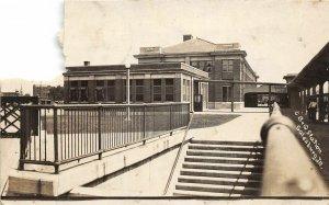 G34/ Galesburg Illinois RPPC Postcard 1914 CB&Q Railroad Depot DAMAGE