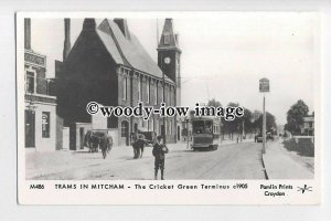 pp2299 - Trams in Mitcham - The Cricket Green Treminus - Pamlin postcard