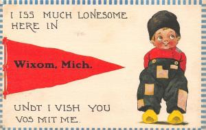 I Iss Much Lonesome Here In Wixom Michigan~Dutch Boy Patched Pants~1914 PC