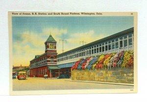 Wilmington Delaware Pennsylvania Railroad Station Linen Vintage Postcard