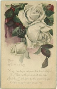 Antique Postcard - White Rose - Birthday Card Series - Artist signed Lyman Powel