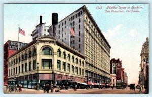 SAN FRANCISCO, California CA ~ MARKET STREET Scene at Stockton c1910s Postcard