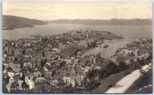 BERGEN Norway RPPC Real Photo Postcard Bird's-Eye Panorama View Eneret Mittet