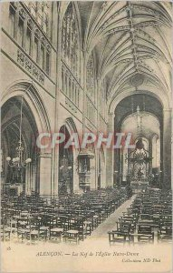 Old Postcard Alencon The Nave of the Church of Our Lady