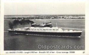 S.S. United States Ocean Liner, Oceanliner Ship Unused light corner wear clos...