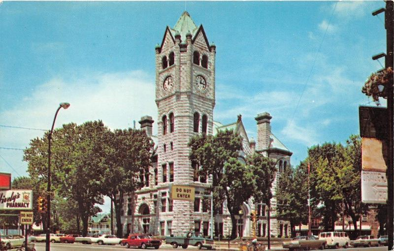 Monticello Indiana~White County Court House-Street Scene~Classic Cars-Truck~'60s