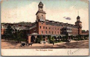 Hot Springs, Arkansas Postcard ARLINGTON HOTEL Building Street View 1907 Cancel