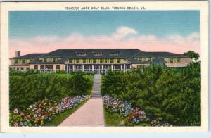 VIRGINIA BEACH, VA    Princess Anne Golf Club  ca 1940s Linen  Postcard