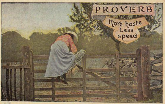 More Haste Less Speed Poetry Proverb Antique Postcard