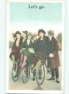 Pre-Linen MANY PEOPLE RIDING ON ANTIQUE BICYCLES AC4551