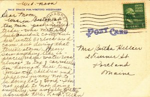P1905 1948 postcard many old cars front street scene scituate mass