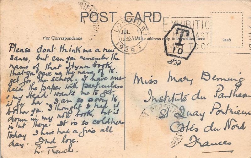 The Thames Embankment, London, England,1929 Postcard sent to France, Postage Due