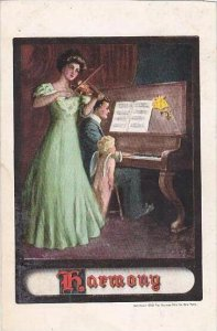Harmony Couple Playing Piano &  Violin With Cupid 1909