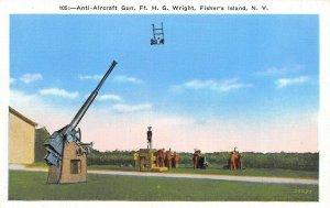 LP81  Fisher's Island New York NY Postcard Ft. H. G. Wright Anti Aircraft Gun