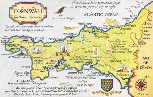 Map Postcard Cornwall The Delectable Duchy, Penzance, Truro, Falmouth, Bude BC3