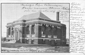 Perth Amboy New Jersey birds eye view public library antique pc Z21204