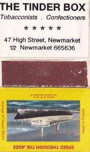 The Tinder Box Newmarket Newsagents Queen Elizabeth II Ship Matchbox Label