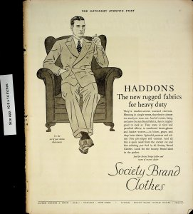 1926 Society Brand Clothes Haddons Suits Vintage Print Ad 4431