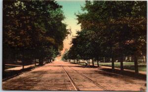 Salem, Ohio Postcard McKinley Avenue Street View Trolley Tracks HAND-COLORED