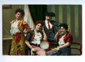 176298 SPAIN Musucians Dancers TORERO Vintage color PC