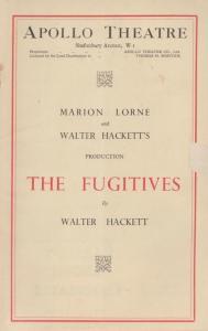 The Fugitives Marion Lorne Upper Class Drama WW2 Apollo London Theatre Programme