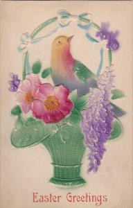 Embossed, EASTER; Greetings, Colorful Dove in a basket with flowers, 00-10s