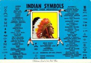 Indian Symbols and Their Meetings Native American Oklahoma OK Chrome Postcard