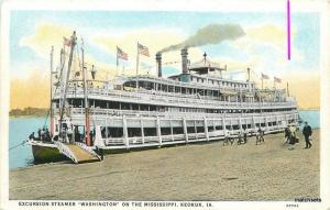1920s Iowa Excursion Steamer Washington Mississippi Keokuk  IowaTeich 9177