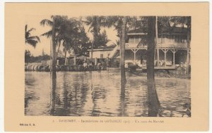 Benin; Dahomey, No 3, 1925 Cotonou Floods, Corner Of The Market PPC By ER Unused
