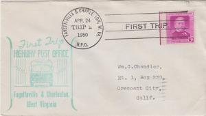 FIRST TRIP HIGHWAY POST OFFICE mail between Fayetteville & Charleston, WV, 1950