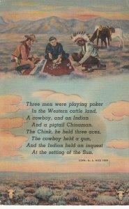 Indian , Cowboy & a pigtail Chinaman play Poker , 1943