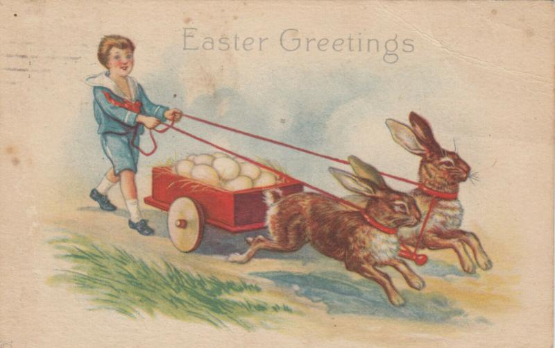 EASTER GREETINGS, PU-1923; Rabbits pulling cart of eggs