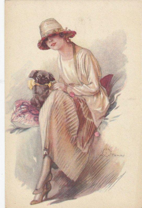 Woman portrait , 1900-10s ; #24A ; Artist Terzi ; Woman & dog