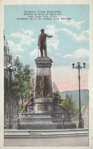 Postcard - UT - Utah Salt Lake City Brigham Young Monument White Border Unposted