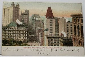 New York Down Broadway from Dun Building 1906 Glitterl Decorated Postcard A18