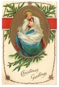 Madonna Child Embossed Vintage Christmas Postcard