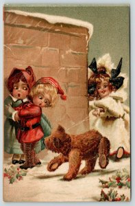 Magnus Greiner~Molly & Steiff Bear on Leash Scares Kids in Snow~Emboss~#791 IAPC