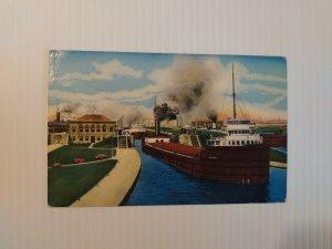Vintage Postcard Soo Locks Sault Ste Marie Michigan ship boat freighter