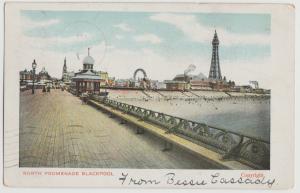 UK BLACKPOOL NORTH PROMENADE PIER FERRIS WHEEL Postcard 1907