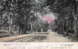 East Main Street, Quincy, Illinois, Early Postcard, Used in 1906