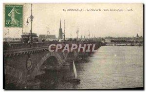 Old Postcard Bordeaux Le Pont Saint Michel and the Fleche